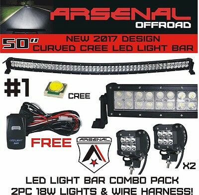 "50""INCH 288W CREE Led Light Bar + 2x 18W Work Lights Jeep (Combo Pack)"