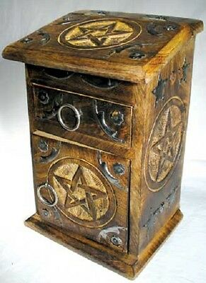 Wooden Carved Pentagram Cupboard Herb Chest Jewelry Box Altar Box Wicca