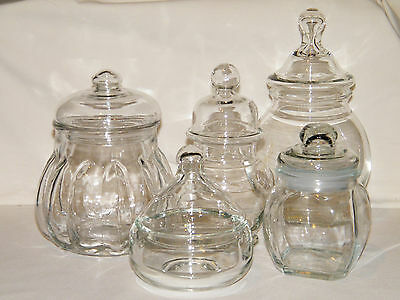 (5) Vtg Clear Glass APOTHECARY/WEDDING/STORAGE JARS/BOTTLES Bubble Lids ALL EX!