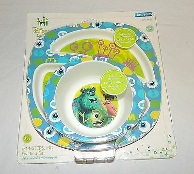 New Disney Monsters Inc Dish & Bowl Set  Baby Toddler Boo Mike Sulley University