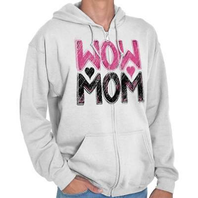 Wow Mom Cute Shirt   Mother Day Gift Idea Mommy Parent Cool Zip Hoodie