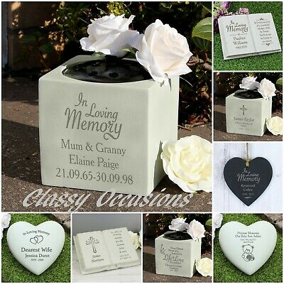 Personalised Remembrance Grave Side Memorial Ornament Flower Vase Stone Plaque