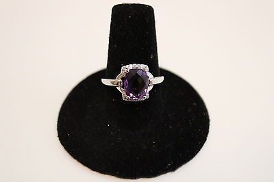 "10K White Gold Amethyst ""Buckle"" Ring - Size 7 - NEW"