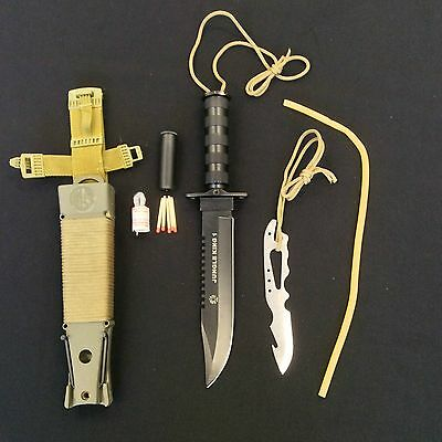 Jungle King 1 Full Metal Survival Camping Hunting Knife w/Green Hard Sheath