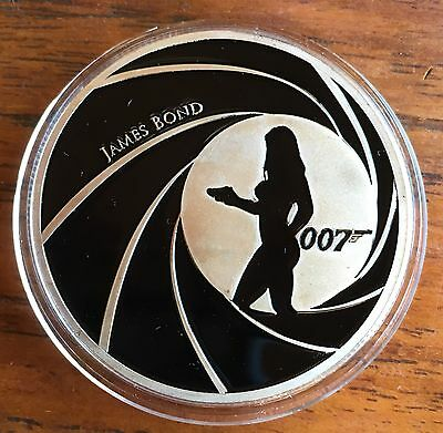 007 Movie Collectable Coin Medallion Finished In Fine Silver .999 1oz  LAST FEW