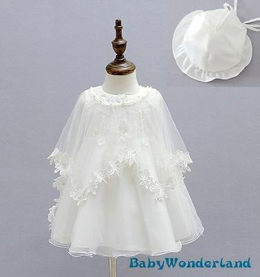 Baby Girl Ivory 3PCS Set Christening Gown Baptism Gown Lace Dresses Size 0-1Y