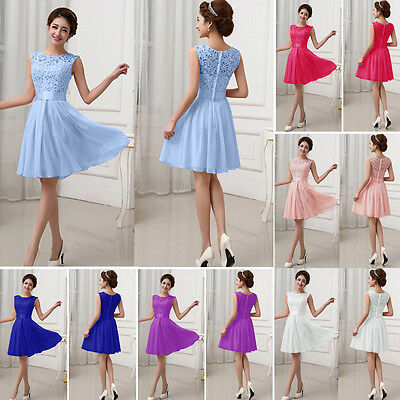 Women Long Wedding Bridesmaid Lace Prom Ball Cocktail Party Evening Short Dress