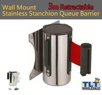 3m stainless Stanchion Queue Barrier Wall Mount Crowd Control Retractable shop