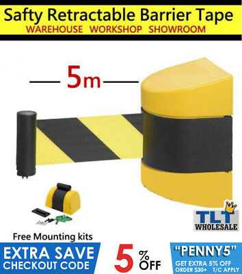 5m Retractable Barrier Tape Safety warehouse workshop crow control wall mount