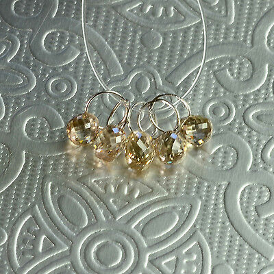 18K Solid White Gold Faceted Champagne Diamond Teardrop Briolette Charms (5)