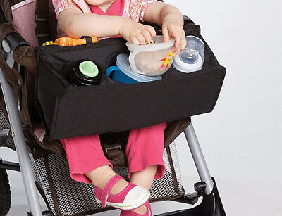 1pc black baby kids pram stroller lap tray snack milk bottle bag buggy tray