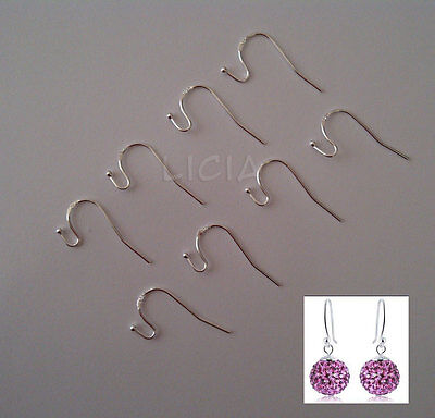 925 Sterling Silver Earrings Earwire S Ball Hook Huggie Findings Stamped DIY