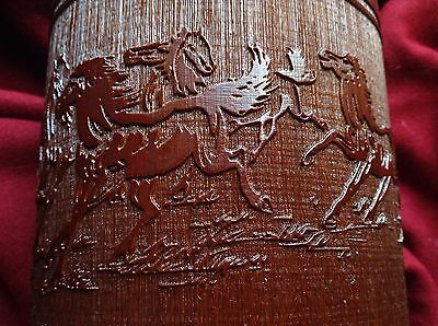 Chinese Bamboo Brush Pot Calligraphy Poem Horse Natural Wood Lacquer Big Brown