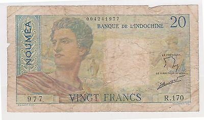 (BNB-268) 1951 New Caledonia 20 Frank Bank note #R-170