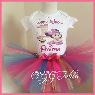 ��1st Birthday Baby Girl CakeSmash Bright Minnie Mouse Personalised tutu set