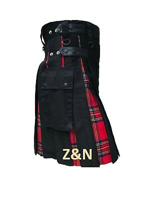 Men's Hybrid Leather Straps Black Cotton Utility Kilt, Cotton & Tartan