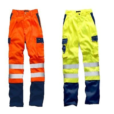 STANDSAFE HI VIS POLYCOTTON WORKWEAR SAFETY TROUSERS YELLOW or ORANGE HV039