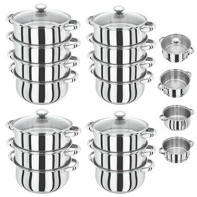 S/s Steel 3 And 4 Tier Induction Hob Steamer Cookware Pot Pan Set With Glass Lid
