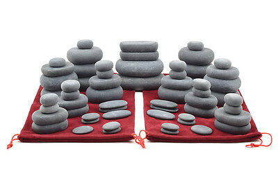 MassageMaster HOT STONE MASSAGE SET: 60 Basalt Stones in 2 Drawstring Bags