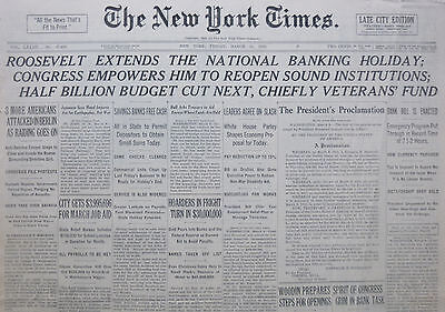 3-1933 WWII March 10 ROOSEVELT EXTENDS BANKING HOLIDAY. JEWS ATTACKED BERLIN