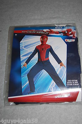 Boys Halloween Costume SPIDERMAN Red Blue JUMPSUIT & CHARACTER HOOD Size S 6