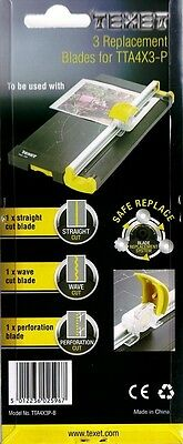 Pack of Three Replacement Blades for Texet TTA4X3-P Paper Cutter Trimmer