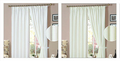 Nina Dotty Lined Voile Curtains - White or Cream Spotted Design & Tape Header