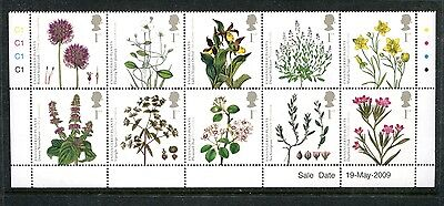 GREAT BRITAIN 2669a, 2009 ENDANGERED PLANTS, BLK OF 10, MNH (ID5555)