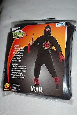 Mens NINJA HALLOWEEN COSTUME Red Black SIZE XL 40-42
