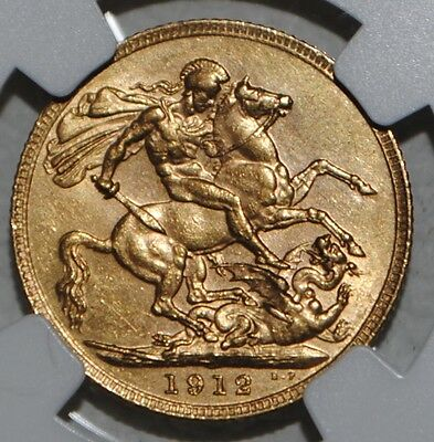 Great Britain 1912 Gold Sovereign AU58 NGC UK COIN King George