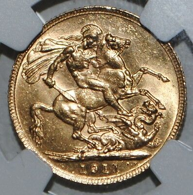Great Britain 1911 Gold Sovereign MS64 NGC UK COIN King George