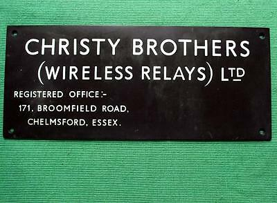 Genuine Brass Vintage Industrial Antique Sign Plaque : Christy Wireless Relays