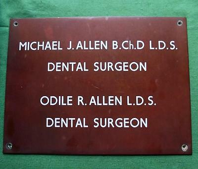 Genuine Brass Vintage Antique Sign Plaque : Michael & Odile Allen Dental Surgeon