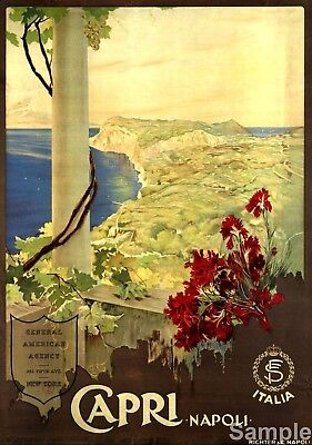 Vintage Italy Isle of Capri Italian Travel Poster Picture Art Print A3 A4