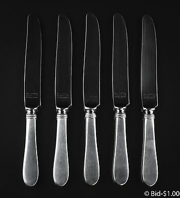 "5 Vintage Sterling Silver Knives From ""The Stieff Co."" 394.4 Grams"
