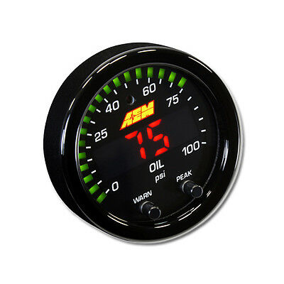 New AEM X-Series 100 PSI/7 BAR Digital Oil/Fuel Pressure gauge, PN: 30-0301