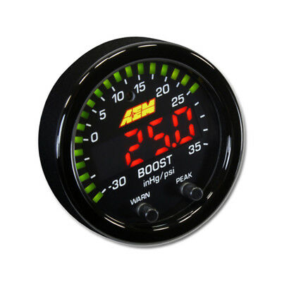 New AEM X-Series 35PSI / 2.5BAR Boost Display Gauge, Black Bezel , PN: 30-0306