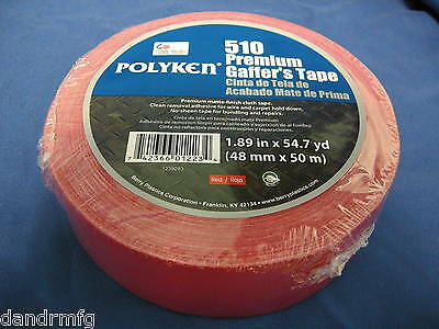 "NEW POLYKEN 510 PREMIUM GAFFERS TAPE RED 1.89"" x 54.7 yd MATTE FINISH CLOTH"