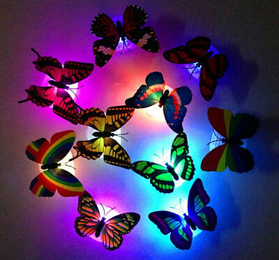 10x Colorful 3D Butterfly DIY Wall Stickers Night Light Lamp Home Decor Room Art