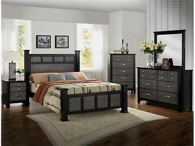 Crown Mark RB4100 Reagan Queen Size Bedroom Set Contemporary  2 Night Stands
