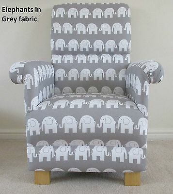 Grey Elephants Fabric Adult Chair Armchair Animals Nursery Nursing White Bedroom