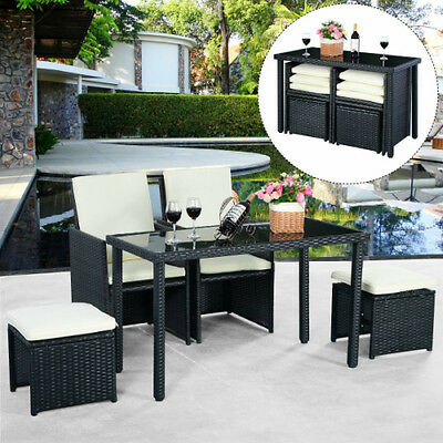 Yard Patio Set Outdoor Rattan Furniture Coffee Table Chairs Stools Garden 5 Pc