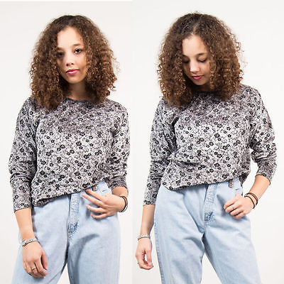 Womens Vintage 90's Grey Silver Floral Pattern Top Long Sleeve Flocked Casual 14