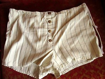 LARGE 36 True Vtg 1950s CLASSIC CAMPUS WHITE PINSTRIPE NYLON SWIM TRUNKS Shorts
