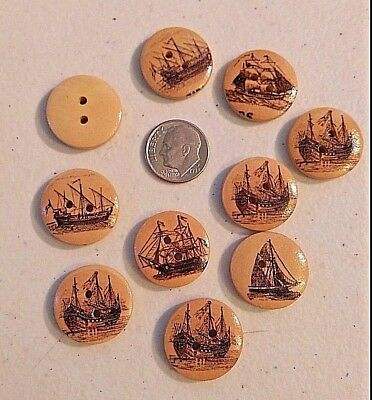 """20mm 3600L Scrapbook Craft Lot of 10 BROWN STAR 2-hole Wood Buttons 3//4/"""""""