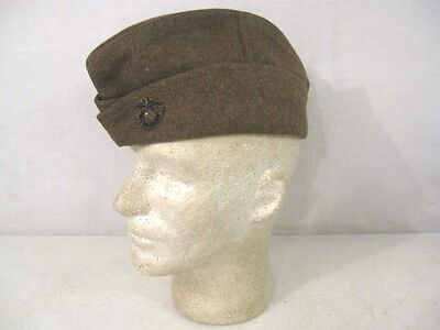 WWI AEF USMC Marine Corps Enlisted Wool Overseas Side Cap w/Bronze EGA Sz 7 1/8