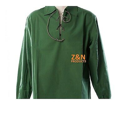 Scottish Green Jacobite Ghillie Kilt Shirt Leather Cord Sizes S - - 5XL
