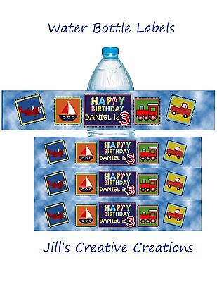 Planes, Trains and Cars Water bottle labels, Cars, Trains, Birthday