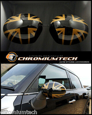 MINI R55 R56 R57 GOLD UNION JACK WING MIRROR Cap Covers for Manual Fold Mirrors