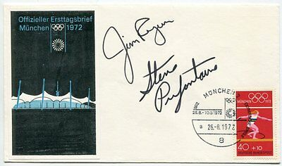 STEVE PREFONTAINE + JIM RYUN - orig. sign. First Day Cover Olympia 1972 - signed